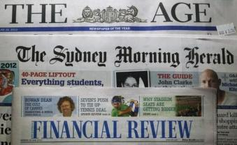 Mastheads of The Age, The Sydney Morning Herald and the Australian Financial Review are pictured in this photo-illustration in Sydney