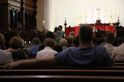 Church-goers gather at St. James in Sydney for a service apologising to LGBT for discrimination (2).JPG